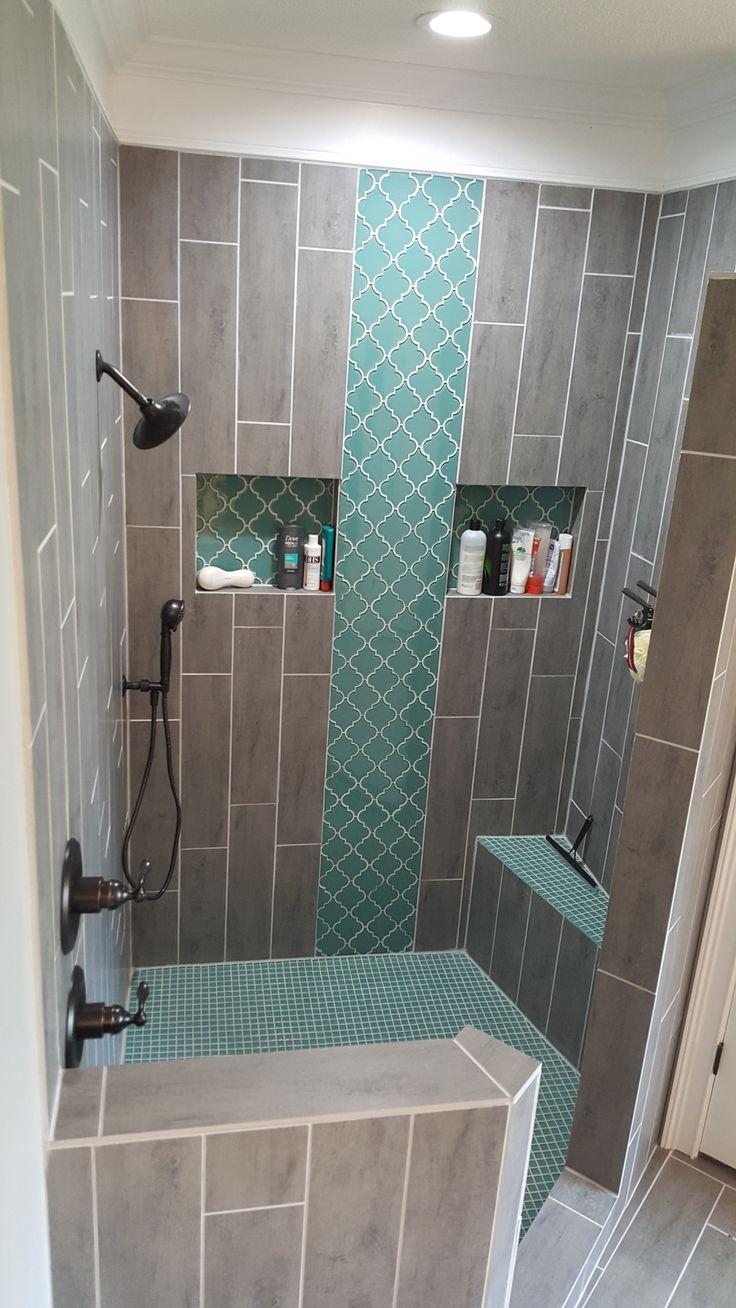 Teal Arabesque Tile Accent Shower Floor Grey