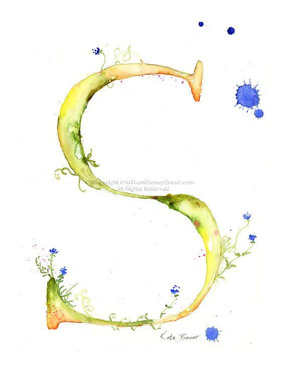 Buchstaben S Monogram Aquarell Blumen von MilkandHoneybread