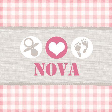 Geboortekaartje Nova Yem www.hetuilennestje.nl. Geboortekaartje, Modern, Speen, Roze, Babyvoetjes, lief, zacht, baby voetjes, afdruk, hartje, stofje, gestikt, drukletters, taupe, wit, meisje.