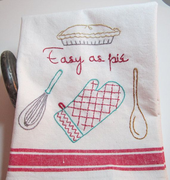 Flour Sack Embroidered Dish Towel Retro Deco by stitchntheattic, $12.00