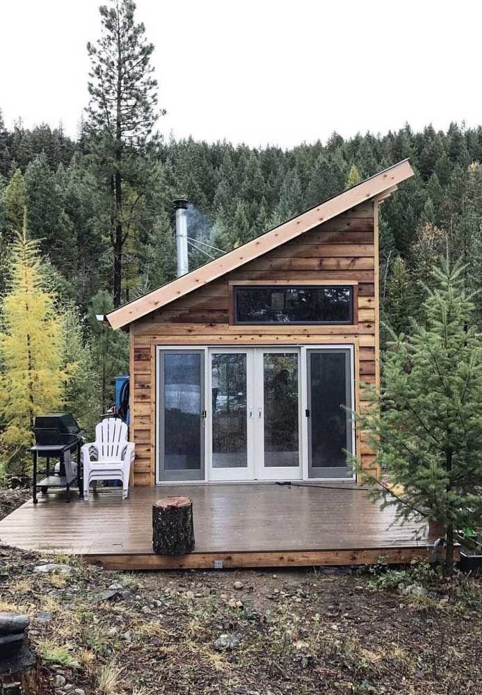 Mini casa também tem área externa; essa aqui com visão