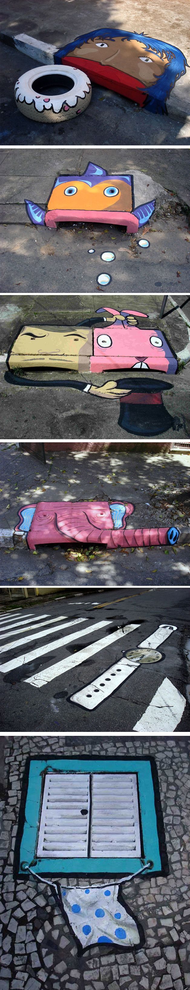 Street art em bueiros de rua Muita gente já conhece o trabalho da dupla de artistas Anderson Augusto e Leonardo Delafuente do 6emeia. Mas nós não poderiamos deixar de mostrar suas novas obras e incluir algumas clássicas também.