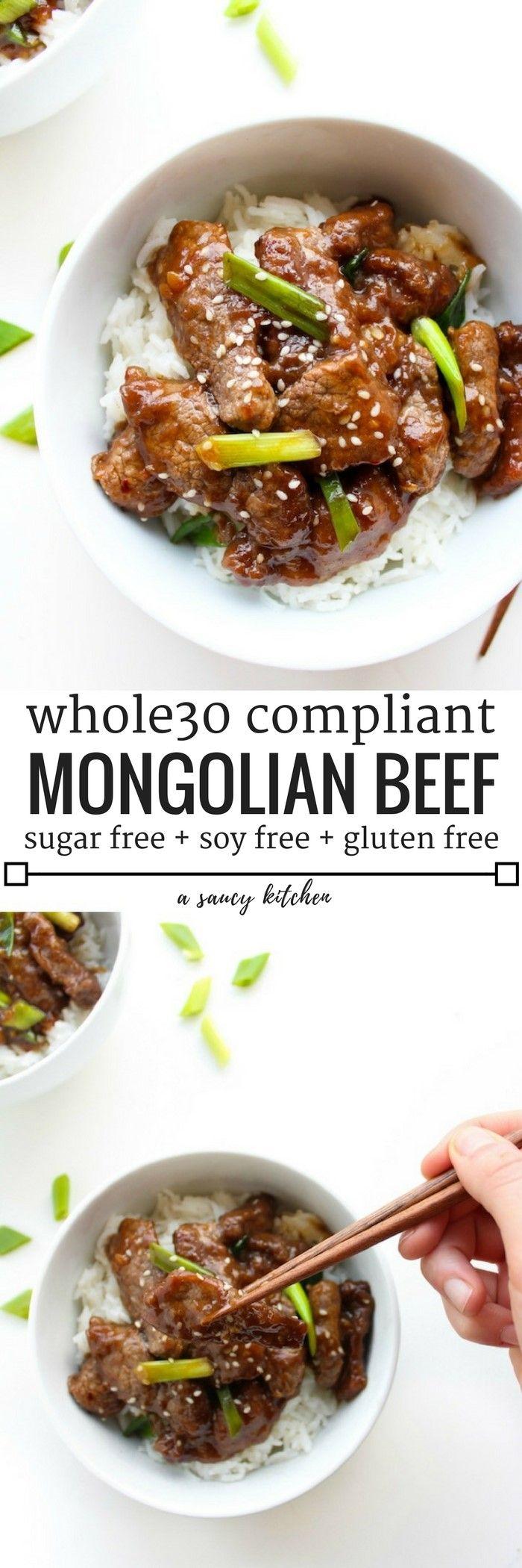 Whole 30 compliant Paleo Mongolian Beef | 10 ingredients, gluten, sugar,