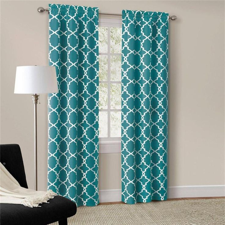 Set of 2 Modern Trendy Interlock Geometric Curtains Panels Drapes Teal Blue New #HomeImprovements