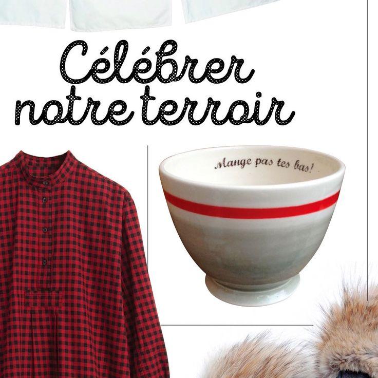 """Le bol à café avec motif bas de laine et inscription """" Mange pas tes bas"""" dans la revue Châtelaine du mois de décembre 2015"""