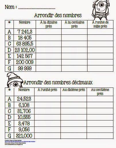 Arrondir les nombres décimaux - Feuille d'exercice - La classe de Karine www.laclassedekarine.blogspot.ca