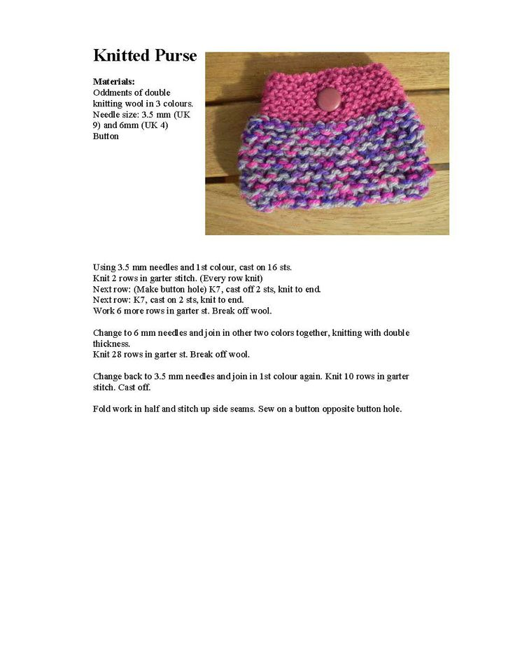 Pattern for small knitted purse