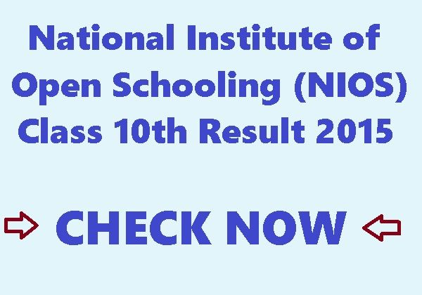 NIOS Class 10th Exam Result Declared on 10th June 2015