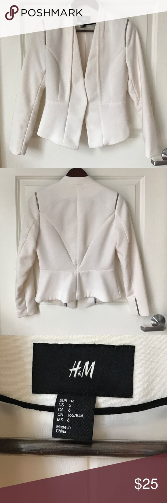 {H&M} Fitted White Blazer with Single Button Collarless white, lined blazer with single button. I love the simple embellishment on the shoulders and the defined waist! H&M Jackets & Coats Blazers