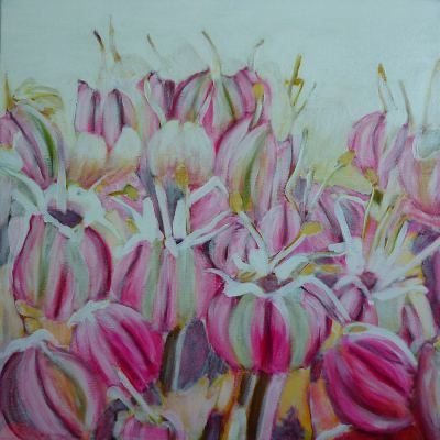 Allium flower painting flowers with mixed media on canvas for Painting flowers in acrylic step by step