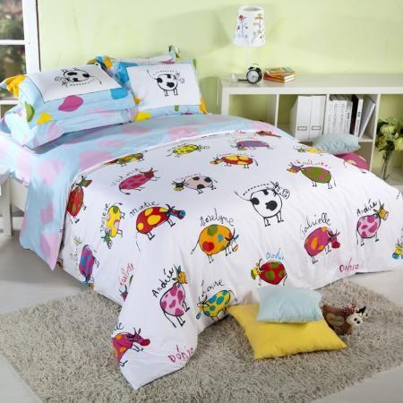 Cow print farm animal theme bedding sets girl 39 s bedroom for Cheetah themed bedroom ideas