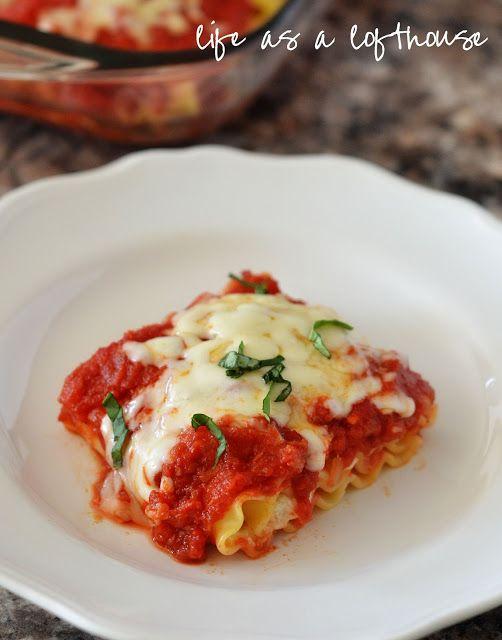 Tomato, Basil and Mozzarella Lasagna Rolls
