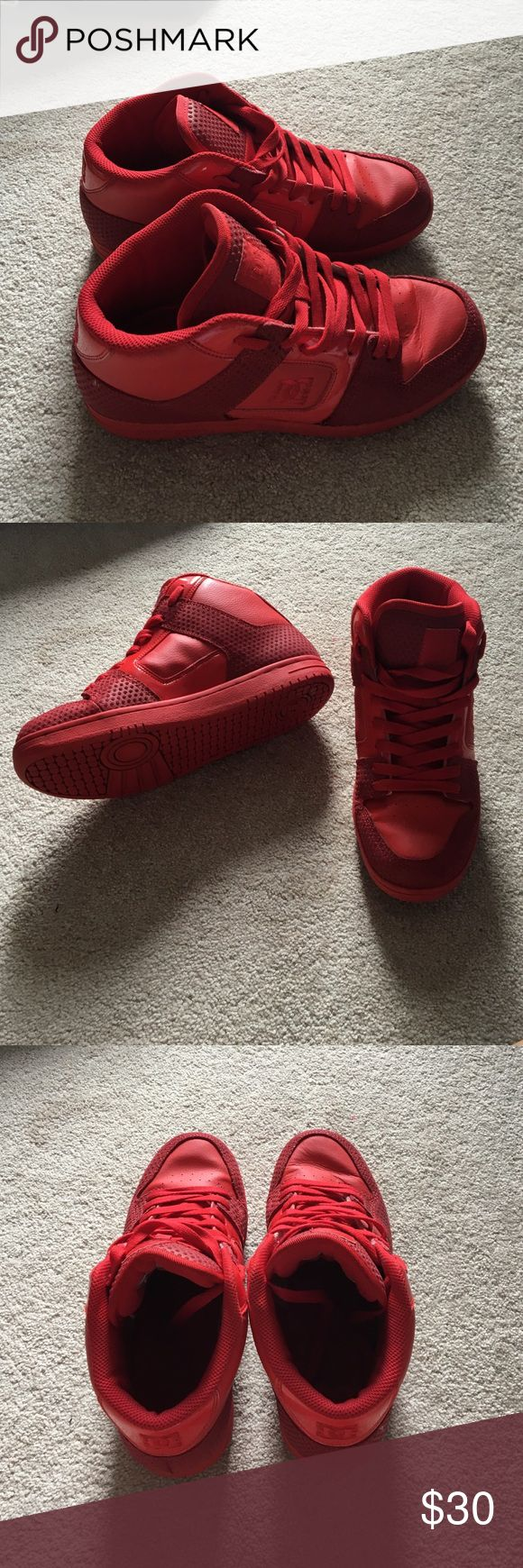 DC red high top sneaker Barely worn red high top DC sneakers, no scuffing but slight wear DC Shoes Sneakers