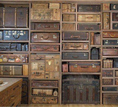 Shelves Made from Old Luggage