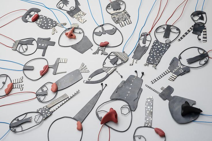 "Selen Ozus Jewelry | ""Friends"" necklace(s) 2013 - silver, porcelain, cotton thread:"