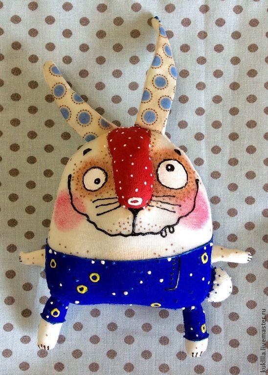 Купить Смешные зайцы - белый, зайка, пасхальный зайчик, подарок на Пасху, заяц текстильный