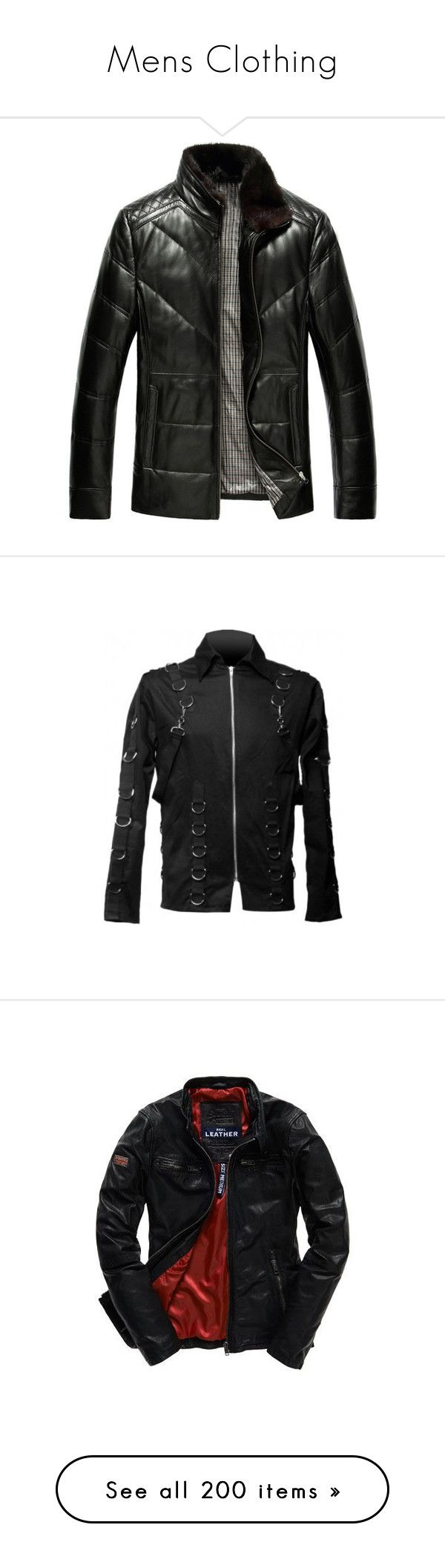 """""""Mens Clothing"""" by tabithahallows ❤ liked on Polyvore featuring men's fashion, men's clothing, men's outerwear, men's jackets, mens outerwear, mens down filled jackets, mens leather jacket, mens padded jacket, mens jackets and tops"""