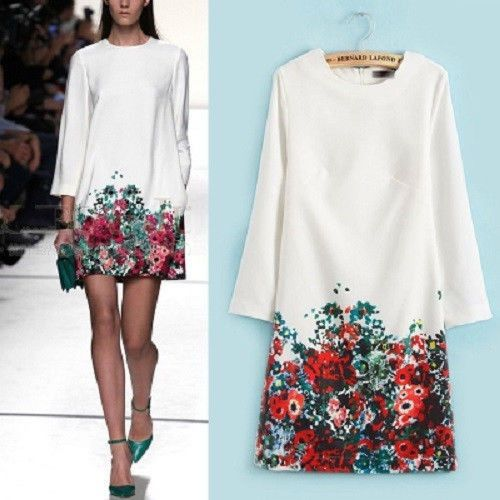 Vintage Womens White Round Neck Long Sleeve Floral Pattern Slim Dress