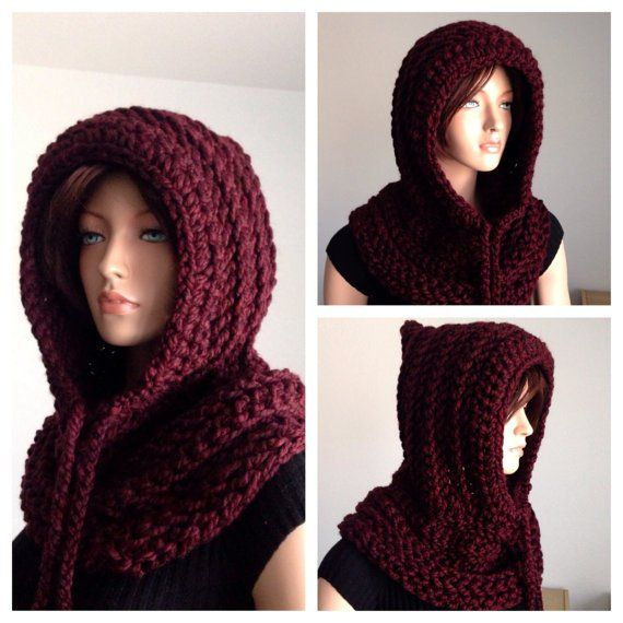 Fancy - Crochet Scoodie. Hooded Cowl. Crochet Chunky by Africancrab