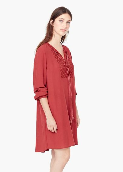 Sukienka haftowana wstawka | MANGO
