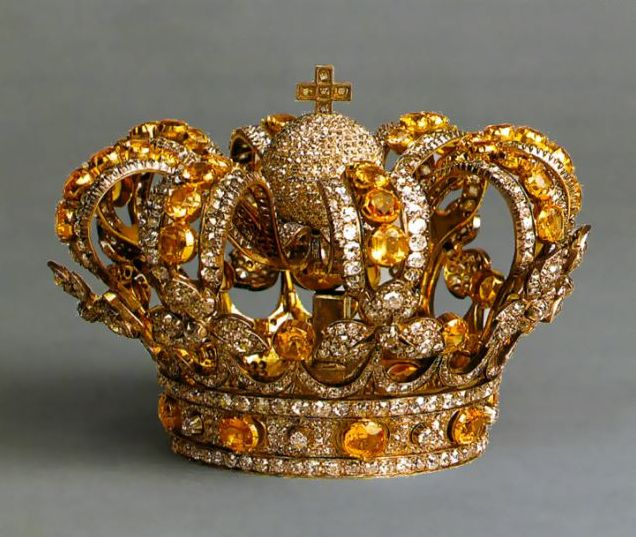 Crown of Queen Isabella II, Spain (ca. 1850; diamonds, topazes). Different, but like the color combo~