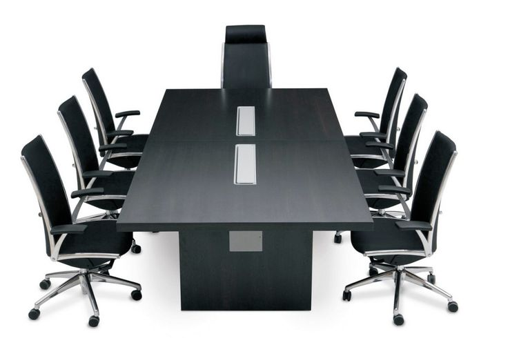 Meeting table black and silver