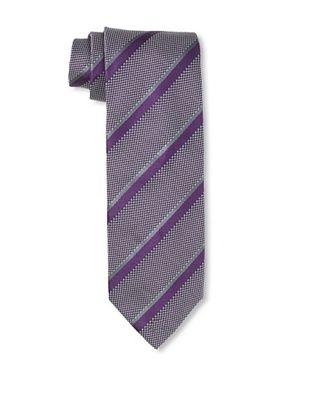 Massimo Bizzocchi Men's Striped Tie, Purple/Grey