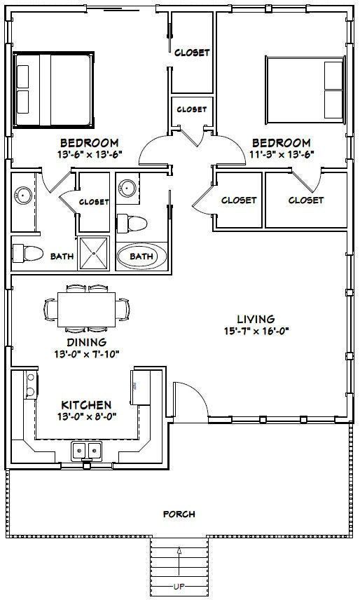 30x40 House 2 Bedroom 2 Bath 1 136 Sq Ft Pdf Floor Plan Instant Download Model 1c 30x40 House Plans Guest House Plans Small House Floor Plans Small house design plan pdf