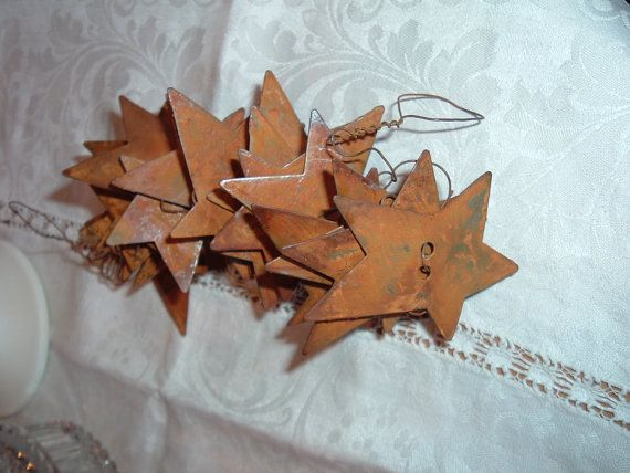 Rusty Tin Star Wire Garland 6 ft Americana by AGiftFromNature