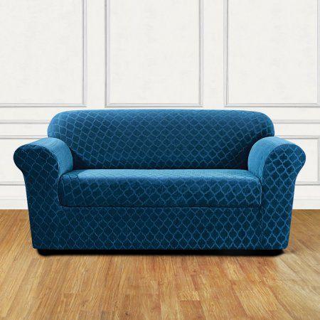 Sure Fit Stretch Grand Marrakesh 2-Piece Loveseat Slipcover, Blue