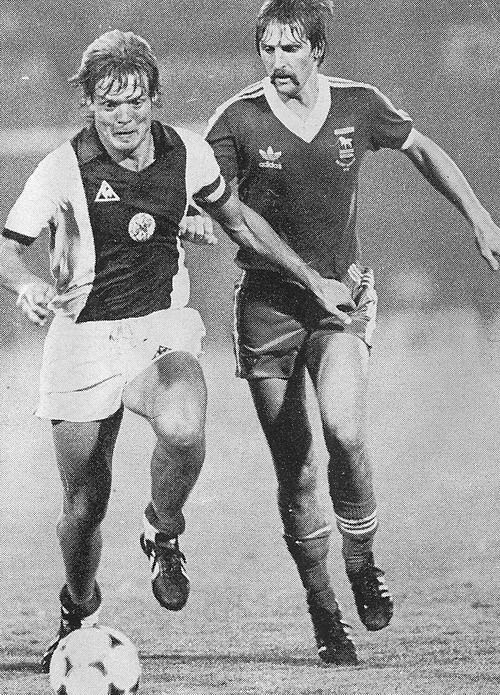 Ajax 1 Ipswich Town 3 in Aug 1981 in Amsterdam. Soren Lerby and Frans Thijsen in action at the Amsterdam midi tournament.