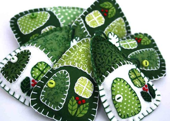 Felt and vintage fabric house ornaments. 3 green and white patchwork houses, home decor, Easter decorations, wedding favours, party favours on Etsy, $14.81