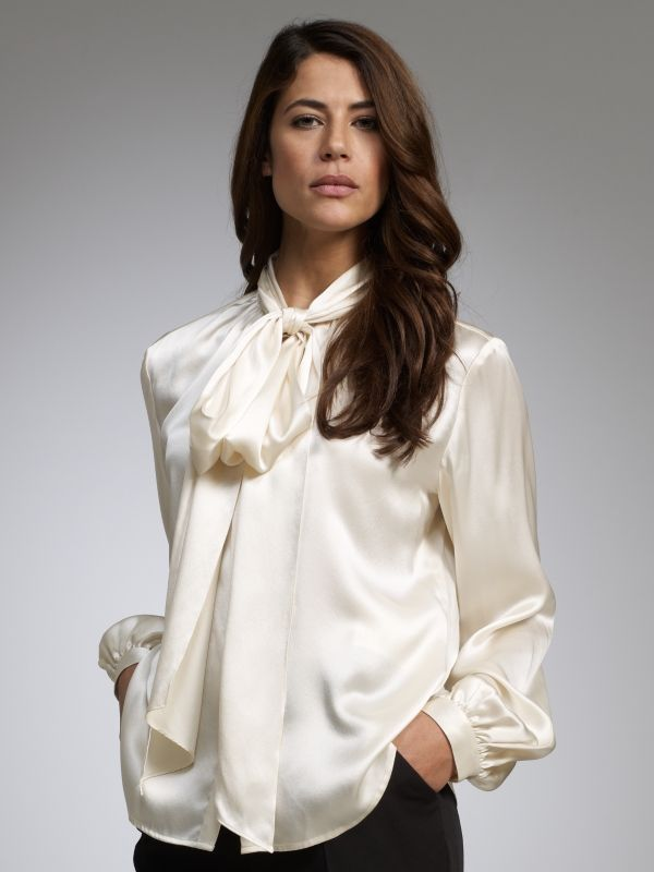 White silk satin bow blouse #mature | satin | Pinterest | Satin ...
