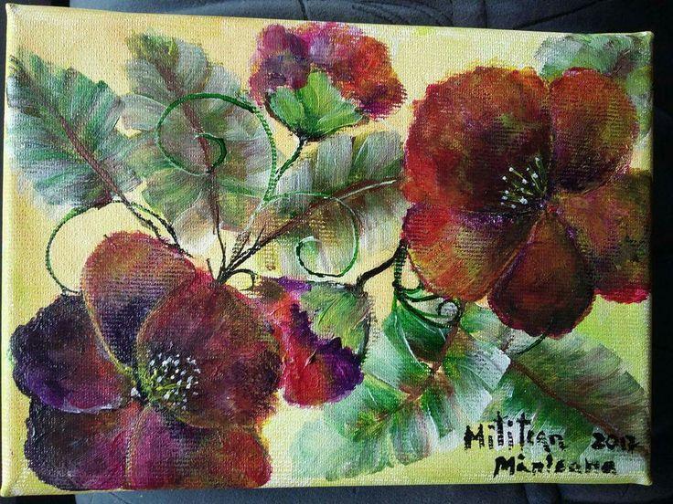 10€ Flori Tablou pictat pe panza Dimensiuni 18/13cm Disponibil