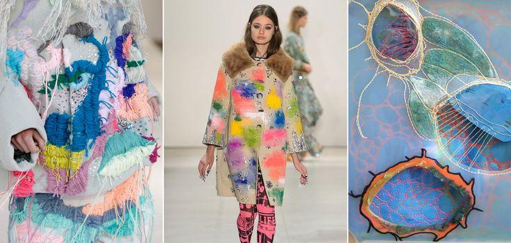 Punky stitches in fashion & art #embroidery #stitches #textile #imperfectdesign #trends #fashion #art; Evelien van Pruissen, Libertine SS17 via vogue.com, kunstenaar Leisa Rich