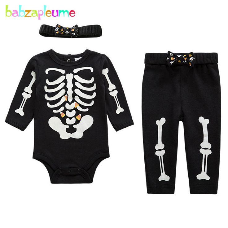 3PCS/Spring Autumn Newborn Clothing Sets Casual Boys Clothes Black Rompers Bodysuits+Pants+Headband Infant Girls Costumes BC1136