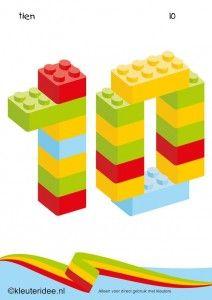Cijfers van lego 1 -10 voor kleuters, nummer 10 , kleuteridee.nl , lego numbers for preschool 1-10 , free printable.