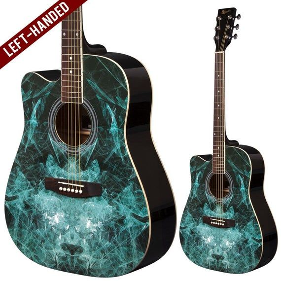 Lindo Fractal Left Handed Acoustic Guitar And Gigbag Etsy In 2021 Left Handed Acoustic Guitar Guitar Black Acoustic Guitar