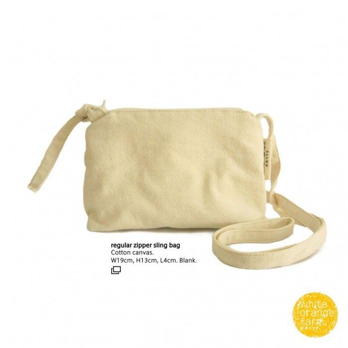 Regular Zipper Sling Bag #whiteorangefarm #mosseash #handmade #handmadebag #cotton #canvas