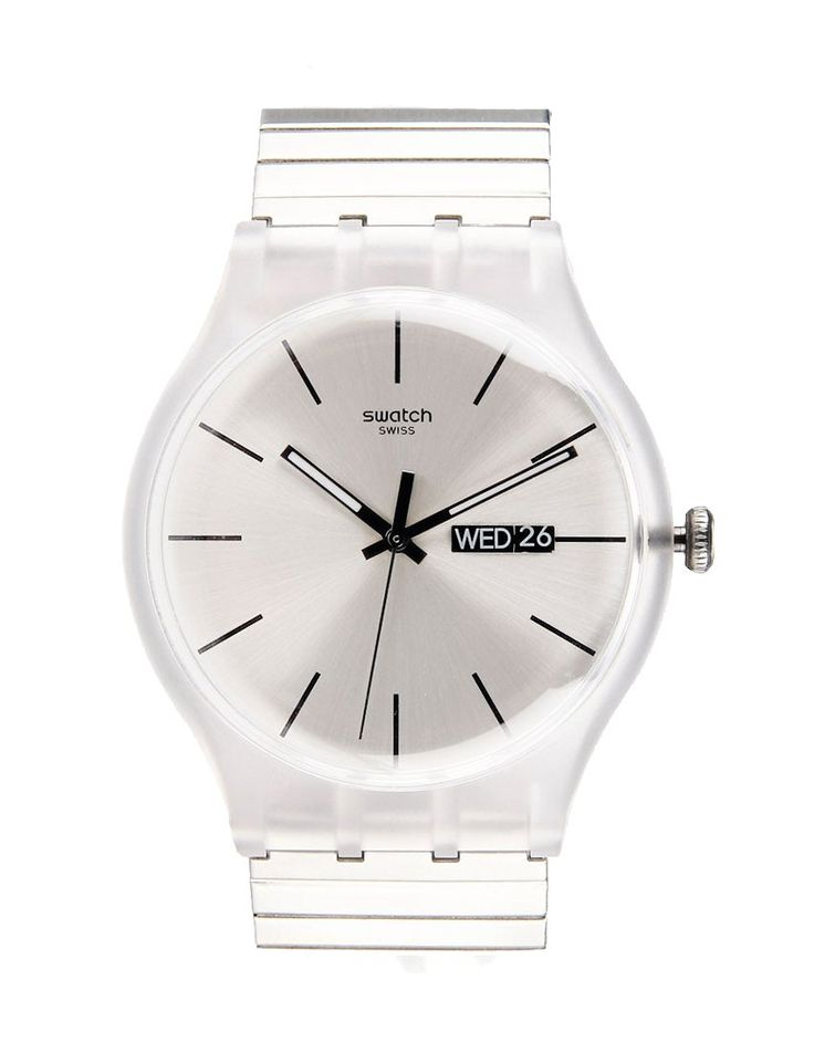 Resolution watch by Swatch. Analog watch with unique combination of plastic case with stainless steel strap, 30 m water resistant, elastic strap, this unique watch made sure look cool and unique in the same time. http://zocko.it/LE1jB