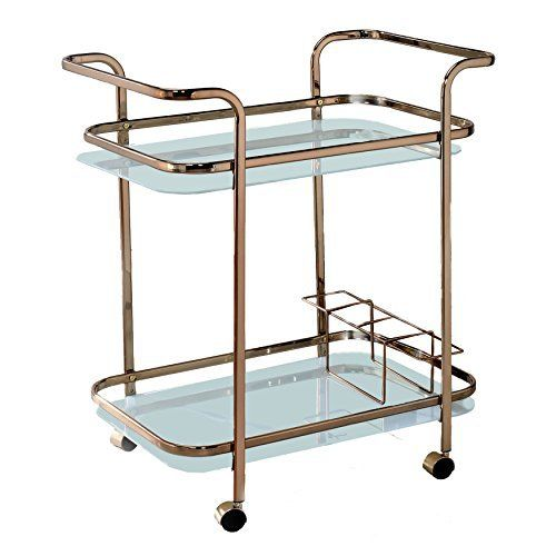 The Lautner Serving Cart features clear curvy lines and a chic Champagne finish. Open glass shelves with sturdy metal guard rails make it easy to organize all your essentials while wine bottle holders keep your bottle securely placed. Each side is distinguished by wide bar handles, making it... more details available at https://furniture.bestselleroutlets.com/game-recreation-room-furniture/home-bar-furniture/bar-serving-carts/product-review-for-homes-inside-out-idf-ac235-laut