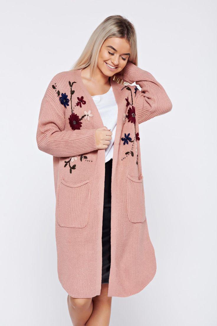 Comanda online, Cardigan rosa casual brodata tricotat cu buzunare. Articole masurate, calitate garantata!