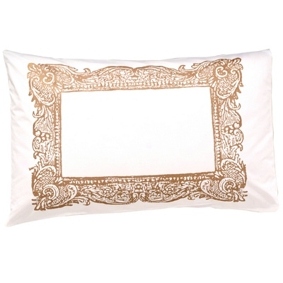 Sleeping Beauty Frame Pillowcase in gold Screen printed pillowcase by Rebecca Chitty These quirky yet stylish