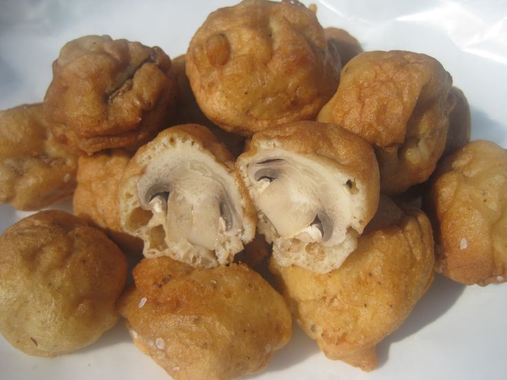 BEER-BATTERED dipped MUSHROOMS fried until golden. The perfect Hors d'oeuvre for entertaining, an appetizer for sharing, or just a satisfying snack...YOU PIC...