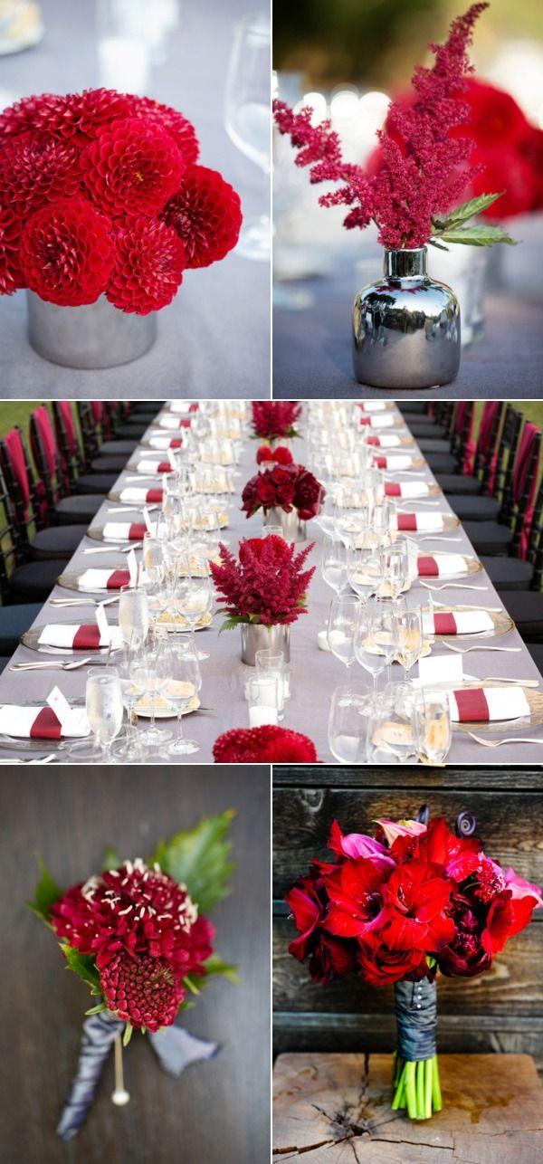 red. Wine Country wedding. Wedding Photography: Ken Viale  / Wedding Venue: Calistoga Ranch / Wedding Planner: Suzy Berberian Weddings & Events  / Floral Design: Fleurs de France /