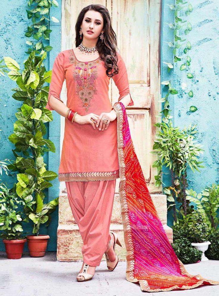 Peach Chanderi Patiala Salwar Suit 86672