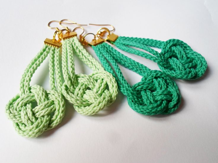 Knotted rope earrings in mint and emerald