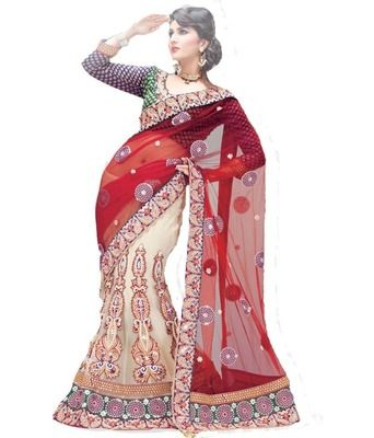 Red White Designer Lehenga Saree Sarees on Shimply.com