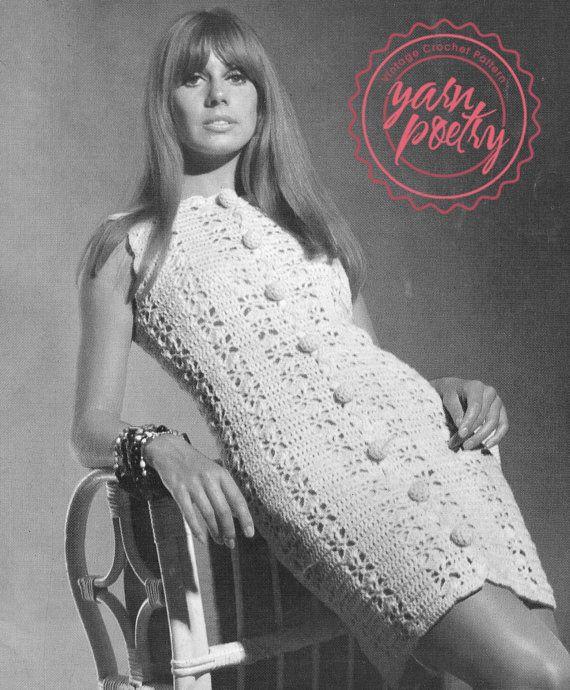 Crochet Button Dress PDF Pattern: Instant by VintageYarnPoetry