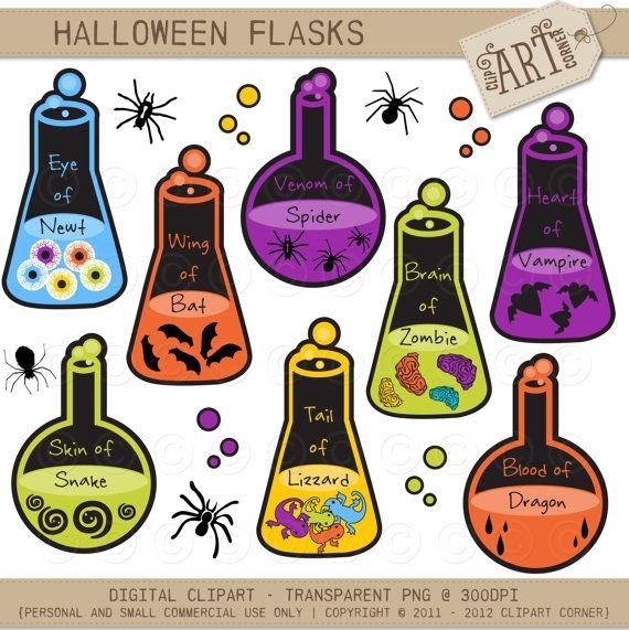 Halloween Lab Flasks   Luvly Marketplace   Premium Design Resources # Halloween #clipart